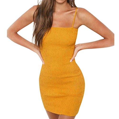LSAltd Frauen Art und Weisestreifen Sling Kleid Damen elegantes ärmelloses dünnes Bodysuit Kleid Partei Minikleid (XL, Gelb) Frauen Xl-sonnenhut