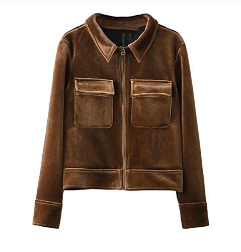 IWFREE Damen Jacke Herbst Bomber Jacke Piloten Baseball Mantel Outwear Tops Coat Bomberjacke Kurz Jacke mit Stehkragen Outwear Samt Tasche (Denim Cord Fell)