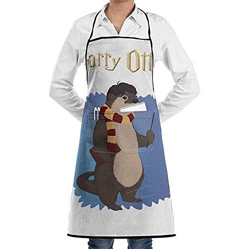 UQ Galaxy Schürze,Harry Otter Schürze Lace Adult Chef verstellbare Lange vollschwarze Küche Schürzen Lätzchen mit Taschen für Restaurant Backen - Otter Kostüm Muster