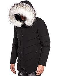 BLZ jeans - Blouson long chic noir capuche fausse fourrure blanche