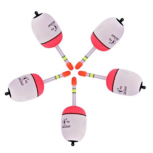 Tbest Angeln Schwimmer Bobber Angeln Float Bobbers Set, 5Pcs Durable Eva Foam Angeln Bobbers Set Snap auf Rot/Weiß Float Bobbers Push Button Runde Boje schwimmt Angelgerät Zubehör -