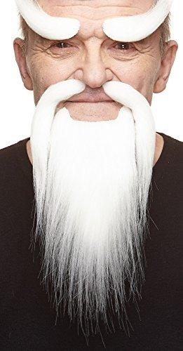 Weißer Shaolinmönchs fälschen, selbstklebend Bart, Schnurrbart und Augenbrauen (Weiße Halloween-haarspray)