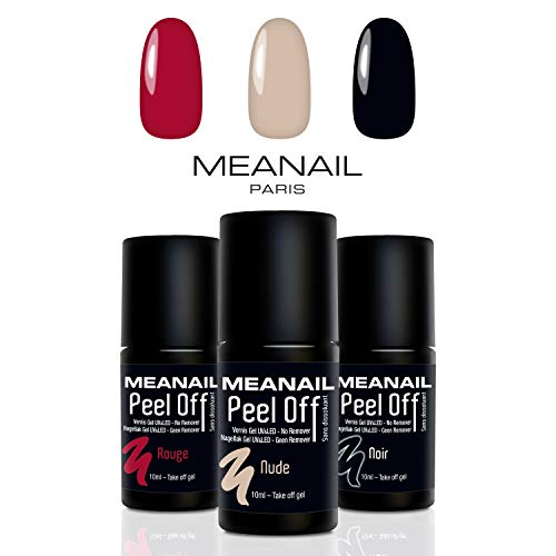 MEANAIL Smalto Semipermanente • Smalto 3 in 1 Peel Off • 3 Colori : Rosso, Nero e Nude • Gel Polish Semipermanente 10 ml • Norme CE Europee