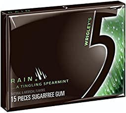 Wrigley's Rain Spearmint 5 Gum - Sugarfree Chewing Gum 15 Pieces Per Package