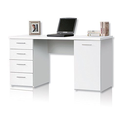 NEWFACE Net106 Schreibtisch mit 4 Schubkästen und 1 Tür, Holz, weiß matt, 145 x 60 x 76.3 cm