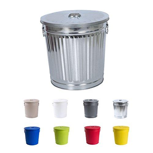Abfalleimer Mülleimer vintage Wäschebehälter Deckeleimer Mülltonne mit Tragegriffen Zink Ø 21,5 cm, Höhe 21,5 cm