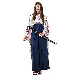 Princess of Asia Japanisches Damen Samurai Kimono Outfit Cosplay Kostüm S M 36 38 40 (Weiß & Blau)