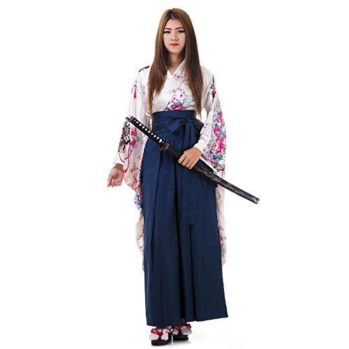 Princess of Asia Japanisches Damen Samurai Kimono Outfit Cosplay Kostüm S M 36 38 40 (Weiß & (Geisha Samurai Kostüm)