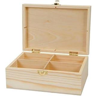 Artemio 20 x 14 x 8 cm 4-Case Wooden Tea Box, Beige