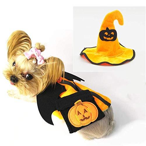 Teufel Kostüm Pet - Pet lustiges Kostüm, Halloween Kürbis Dämon Stil Hund Katze Anzug und Umhängetasche Kostüm Kleid Partei,Gelb,S