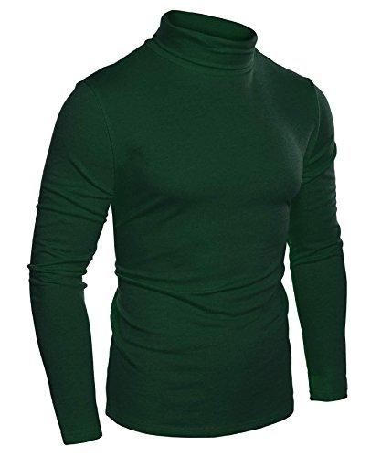 Pagacat Männer Mode Slim Fit-Thermo-Unterwäsche Rollkragen Langarm Solide T-Shirts Grün