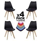 Duehome Beench Pack de 4 sillas, Madera de Haya, 49 x 53.5 x 83 cm, Negra