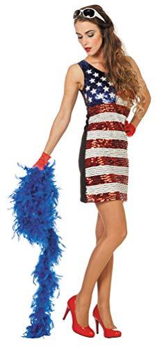 Karneval-Klamotten Disco Kostüm 70er Jahre Kostüm Damen Pailletten blau weiß rot USA Damen-Kostüm Größe 40/42