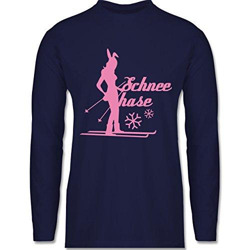 Après Ski - Ski Schneehase - Longsleeve / langärmeliges T-Shirt für Herren Navy Blau