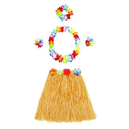 Hawaiianische Hula-Rock, Girlande mit farbiger Lei Blume Set Fancy Dance Party Kostüm Set, gelb