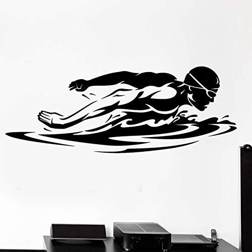 ljmljm Schwarz 42x112cm Super Schwimmer Muster Fitnessstudio kreative Geschnitzte entfernbare Wandaufkleber mit optional Camilla Form