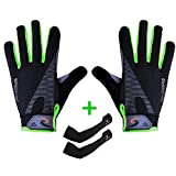 Sportout Breathable Anti-Slip Cycling Gloves, Waterproof Motorbike Gloves, Full Finger Touchscreen Motorcycle Gloves with Arm Sleeves, for Climbing MTB Hiking Gardening, Men and Women (Grün)
