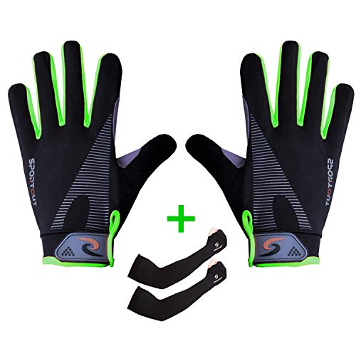 Sportout Breathable Anti-Slip Cycling Gloves, Waterproof Motorbike Gloves, Full Finger Touchscreen Motorcycle Gloves with Arm Sleeves, for Climbing MTB Hiking Gardening, Men and Women (Grün) Finger-touch Screen