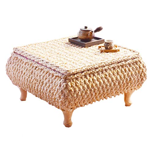 Schreibtische Tisch Rattan Bucht Fenstertisch Moderne Minimalistische Tabelle Handgefertigte Stroh Teetisch Tatami Couchtisch Quadratische Tabelle Lagerung (Color : Brown, Size : 50 * 50 * 30cm) - Rattan-quadratischer Tisch