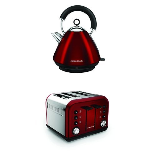 Morphy Richards 102029 Accents Pyramid Kettle and 242030 Accents 4 Slice Toaster – Red