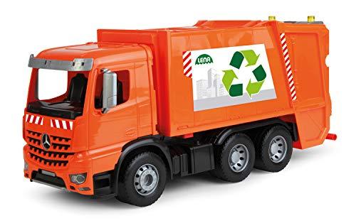 Lena 4604 Worxx Müllauto Mercedes Benz Arocs, Spielauto ca. 53 cm, Nutzfahrzeug für Kinder ab 3 Jahre, robuster Müllwagen mit 2 Mülltonnen und realitischen Spielfunktionen, orange