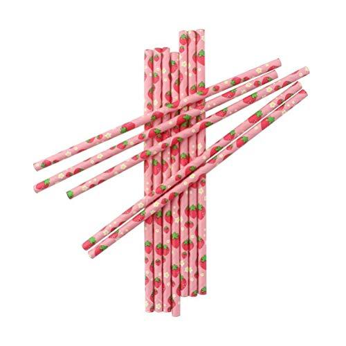 BESTONZON 100 Stücke Kreative Obst Gemusterte Einweg Papierstrohe Umweltfreundliche und Abbaubare Trinkpapier Pipetten Party Dekoration Lieferungen (Erdbeere)