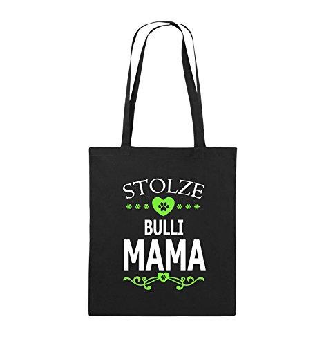 Borse Comiche - Orgogliosa Bulli Mamma - Cuore - Borsa Di Juta - Manico Lungo - 38x42cm - Colore: Nero / Bianco-neon Verde Nero / Bianco-neon Verde