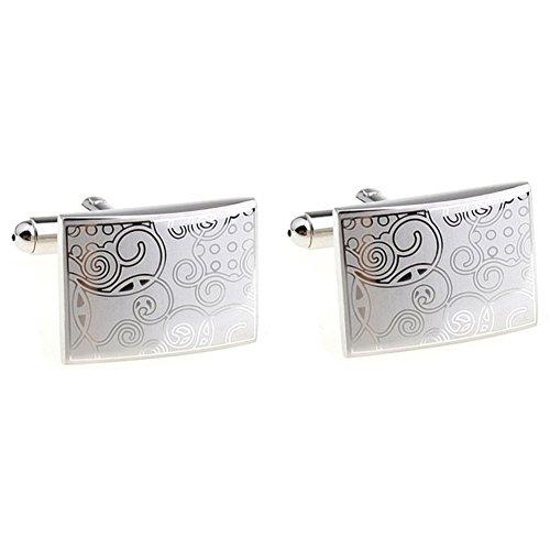 Kentop Manschettenknöpfe Herren Mode Silber geschnitztes Muster Einfaches Design Manschettenknöpfe für Hemd Anzug