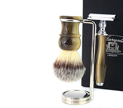 Vintage Stil Luxus Rasur Geschenk-Set für Männer (Kunsthaar Pinsel Horn Griff, doppelter Rasierhobel Horn Griff Stahl & Chrom Halter) keine Klingen im lieferumfang enthalten