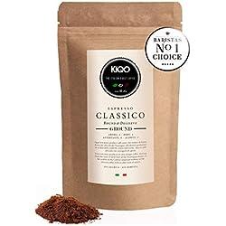 KIQO Classico 250g Expresso excellent café torréfié d'Italie de première qualité | torréfié délicatement en petites quantités | peu acide | 35% Arabica et 65% Robusta (fraisé, 250g)