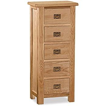Roseland Furniture Surrey Oak Light Honey Waxed Tallboy, Brown