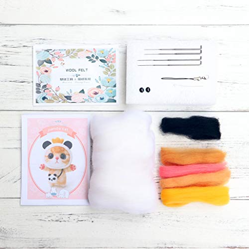 Dabixx Katze Puppe Mit Panda Wollfilz Handwerk DIY Nicht Fertig Poked Set Handwerk Kit Für Nadel Material Tasche Pack