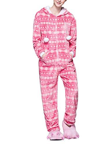 BESBOMIG Casual Pijamas Una Pieza Franela Monos Copo