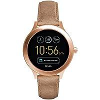 FOSSIL Q Venture | Montre connectée étanche pour femme en cuir sable - Compatibilité iOS & Android - Coffret montre avec son chargeur