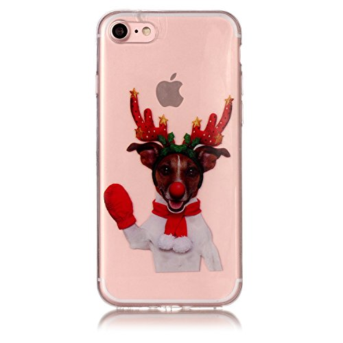 Coque iPhone 7 / iPhpne 8 , Coque en Soft Silicone TPU Transparente Antichoc Housse de Protection Etui Housse Jolie Christmas Noël Motif Mode Design Case Cover Ultra Mince Crystal Clair Souple Gel pou Chien Noël