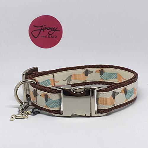 Jimmy und Katz Hundehalsband Dackel Teckel Creme 26-40cm x 2cm