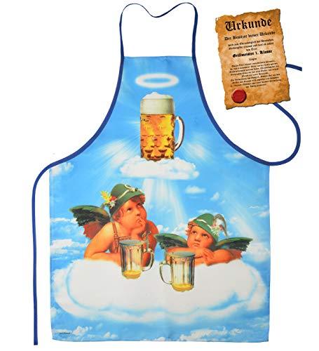 Mega tolle Schürze Grillschürze Kochschürze mit Urkunde - 2 Engel im Bierhimmel - lustiger Scherzartikel für jeden Anlass Karneval Geschenkidee