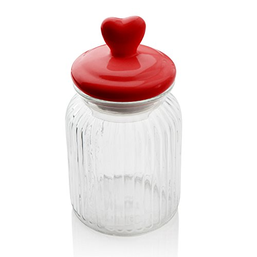 Sabichi Heart Topped Ribbed Glass Jar 900ml Sweets Candy Storage Canister 172471 by Sabichi