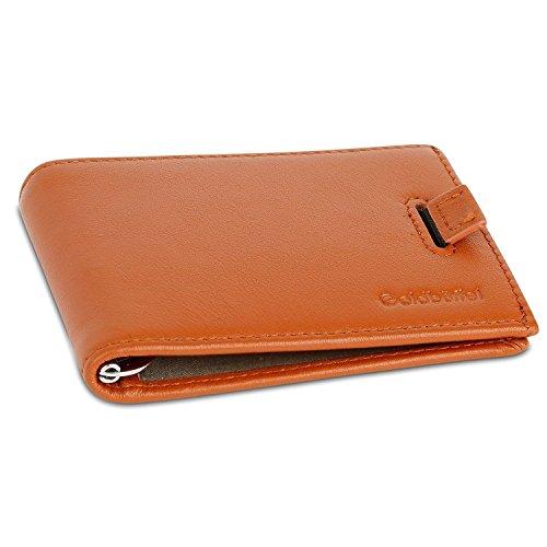 Kreditkartenetui mit Geldklammer aus echtem Leder - Geldbörse für bis zu 15 Karten und Datenschutz mittels NFC & RFID-Blocker - Portmonee für Herren (Crazy 8 Kleidung)
