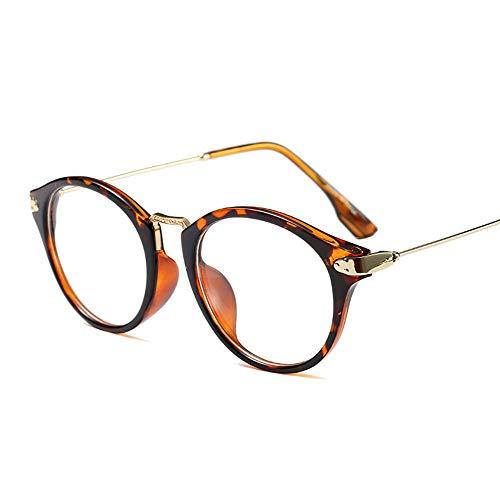 FUBULECY Modische Brille Frame Nerd Brille mit transparenter Linse für Damen/Männer Leopardenmuster