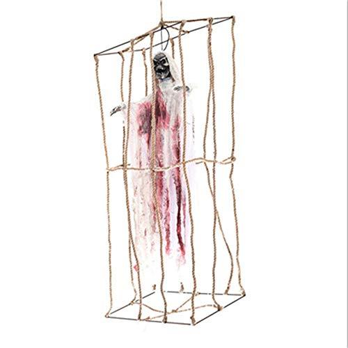 Cage Geist Elektrische Schädel Bar Spukhaus Halloween Geist Stimme Skeleton Prop Halloween Dekoration KI50 ()