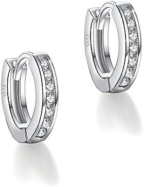 Fashmond Doppel Silbrig Creolen Ohrschmuck aus echte 925 Sterling Silber und Zirkonia - Valentinstag Geschenk...
