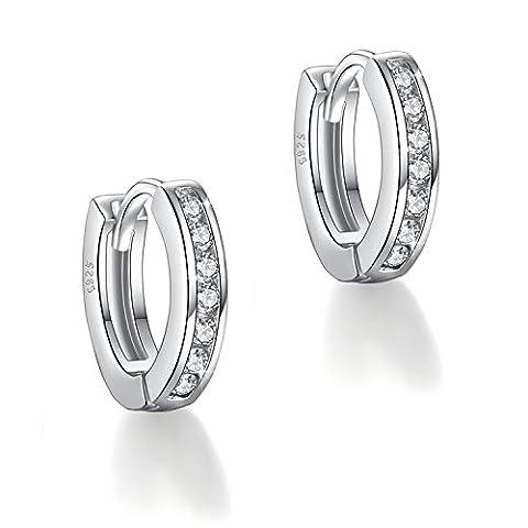 Fashmond Doppel Silbrig Creolen Ohrschmuck aus echte 925 Sterling Silber und Zirkonia ValentinstagGeschenk