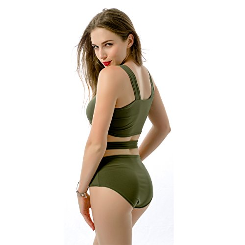 Qiansheng–Collant sexy lingerie petto Cross BANDAGE bikini set Braless tuta costume da bagno a due pezzi costume da bagno a vita alta shapewear Tankinis Swimwear, Wine Red, xx-large Army Green
