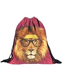 Sannysis Mochilas tipo casual, bolsos con cordón Impresión animal 3D
