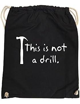 Comedy Bags - This is not a drill - HAMMER - hipster Turnbeutel, bedruckter Gymbag aus 100 % Baumwolle, praktischer...
