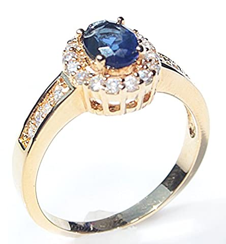 High Class Gold Filled UK Guarantee : 3µ / 10 years years Ring. Set With A Blue Sapphire Created Diamond Surrounded By Simulated Diamond Brilliant Rounds. 2.9GR Total Ring Weight. Outstanding