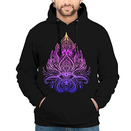 RQPPY Herren Fashion Hoodies Lotus Eyes Yoga Buddhism Slim Fit Sweat Hoodie Für Jugenden White XXL