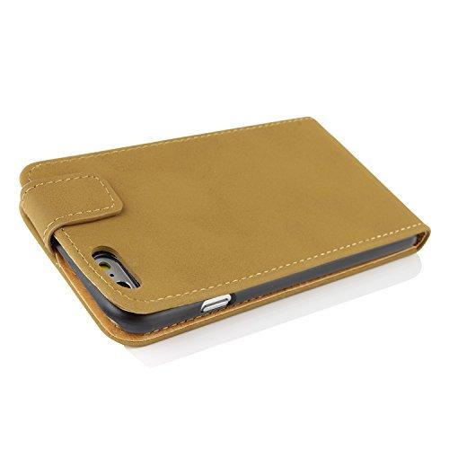iPhone 6 / 6s Étui, Urcover Bookstyle Retro Flip Case Housse Coque Apple iPhone 6 / 6s Téléphone Protection Smartphone Marron Foncé Cover Beige