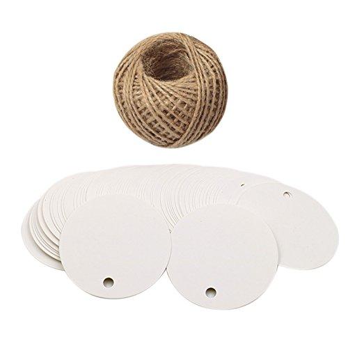 G2PLUS 100 Stk. Geschenkanhänger, 5 CM * 5 CM kraftpapier Etiketten Tags mit 30 Meter Jute-Schnur, Perfekt für Art & Craft Projekt (Weiß)